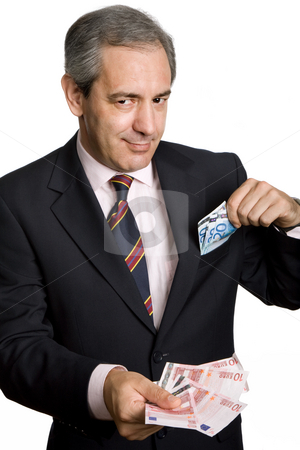 Money stock photo, Mature business man with money over white background by Rui Vale de Sousa