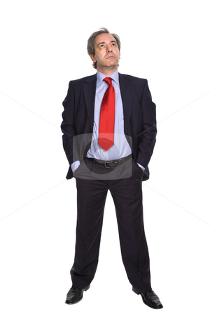Thoughts stock photo, Mature business man isolated on white background by Rui Vale de Sousa