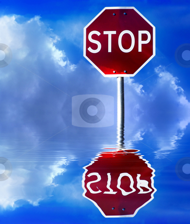 Street sign stock photo, Street stop sign with clouds and sky as background by Rui Vale de Sousa