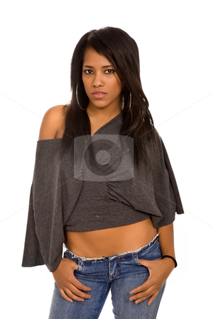 Afro stock photo, Young beautiful woman portrait, isolated on white by Rui Vale de Sousa