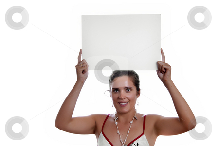 Card stock photo, Young girl holding a card in the top of the head by Rui Vale de Sousa