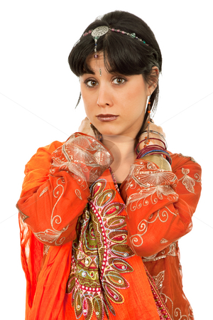 Hindu stock photo, Young woman in a hindu dress, isolated on white by Rui Vale de Sousa