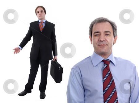 Businessmen stock photo, Two businessmen portrait with a suitcase. focus on the right man by Rui Vale de Sousa