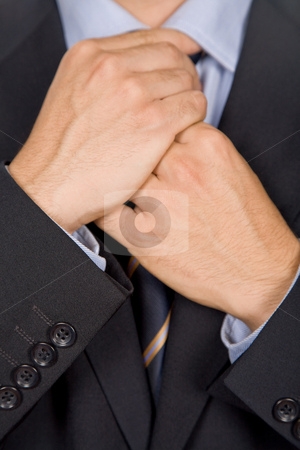 Adjusting stock photo, Detail of a Business man Suit with colored tie by Rui Vale de Sousa