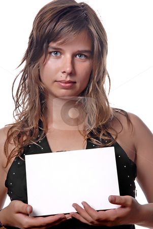 Advertisement stock photo, Young girl holding a card, close up by Rui Vale de Sousa