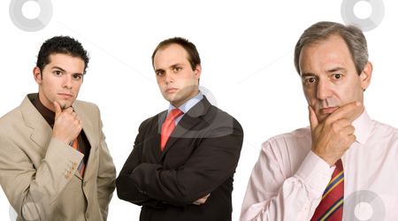 Thoughts stock photo, Three business men isolated on white background by Rui Vale de Sousa