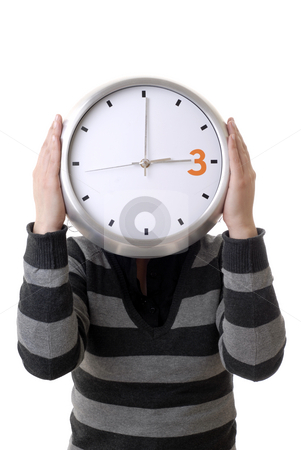 Clock stock photo, Woman with a clock covering her head by Rui Vale de Sousa