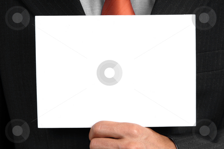 Card stock photo, Business man holding a card in his chest by Rui Vale de Sousa