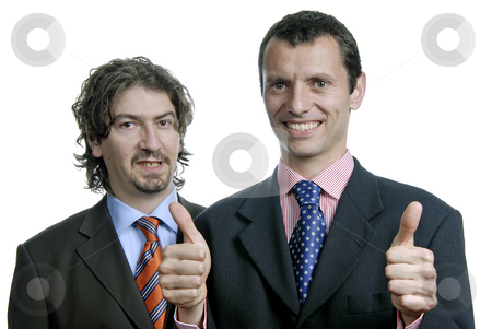 Team stock photo, Two young business men, focus on the left man by Rui Vale de Sousa