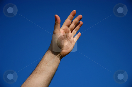 Hand stock photo, Human male hand with the sky as background by Rui Vale de Sousa