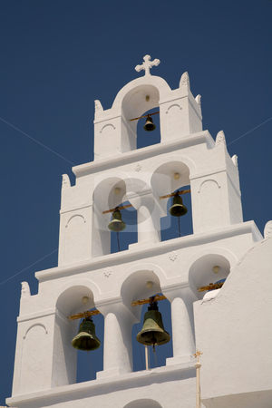 Belltower stock photo, White bell tower in the greek island of santorini by Rui Vale de Sousa