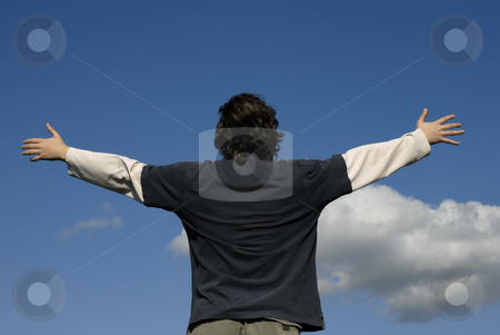 Freedom stock photo, Man with open arms and the blue sky by Rui Vale de Sousa