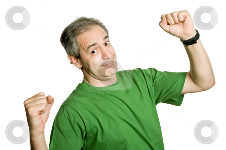 Happy stock photo, Happy mature man with arms isolated on white by Rui Vale de Sousa
