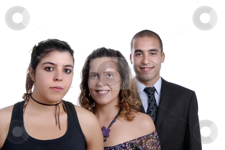 Three stock photo, Two women and a man isolated on white by Rui Vale de Sousa