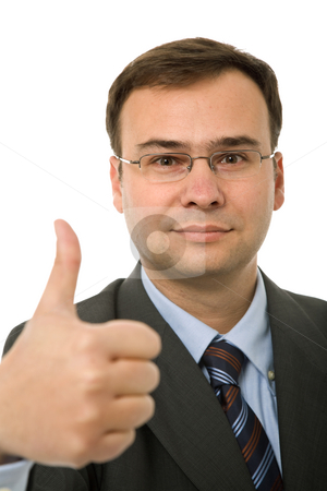 Thumb up stock photo, Business man going thumb up, focus on the head by Rui Vale de Sousa