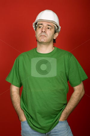 Worker stock photo, Mature casual man on a red background by Rui Vale de Sousa