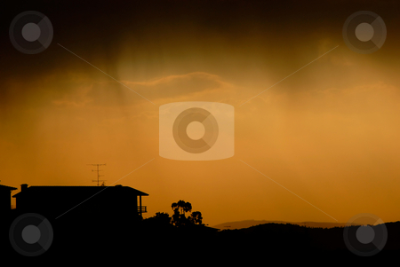 Sunset stock photo, Small house at sunset in the north of portugal by Rui Vale de Sousa