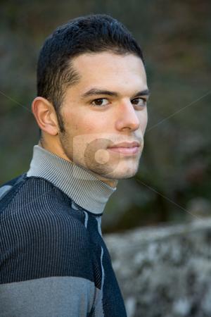 Portrait stock photo, Young casual handsome man portrait, outdoor picture by Rui Vale de Sousa