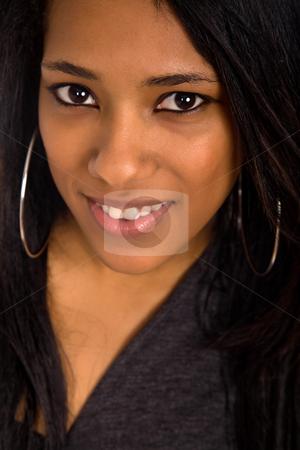 Smile stock photo, Young beautiful woman closeup portrait, studio shot by Rui Vale de Sousa