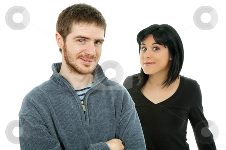 Couple stock photo, Young casual couple together, isolated on white backgroung by Rui Vale de Sousa