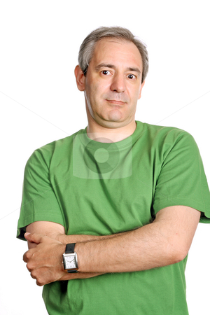 Funny stock photo, Mature casual man portrait, isolated on white by Rui Vale de Sousa