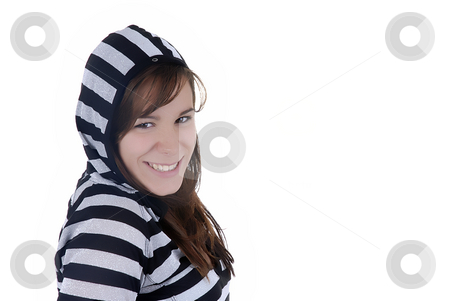 Girl stock photo, Happy young casul woman in a white background by Rui Vale de Sousa