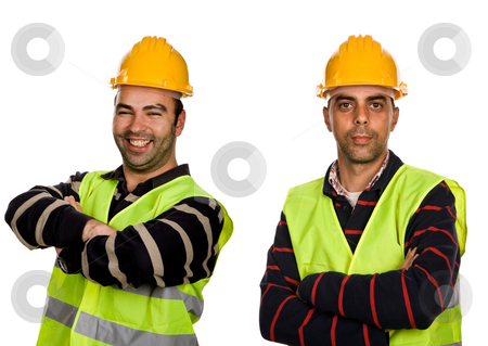 Workers stock photo, Two young workers in a white background by Rui Vale de Sousa