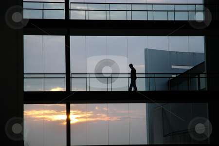 Silhouette stock photo, Man inside the building by Rui Vale de Sousa
