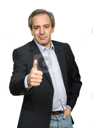 Thumb up stock photo, Mature casual man portrait going thumb up by Rui Vale de Sousa