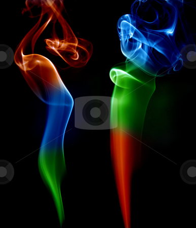 Smoke stock photo, Abstract colored smoke in a black background by Rui Vale de Sousa