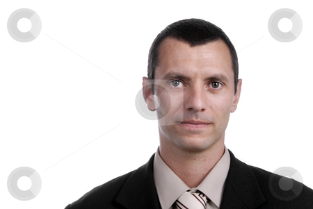 Business man stock photo, Young business man portrait on white background by Rui Vale de Sousa