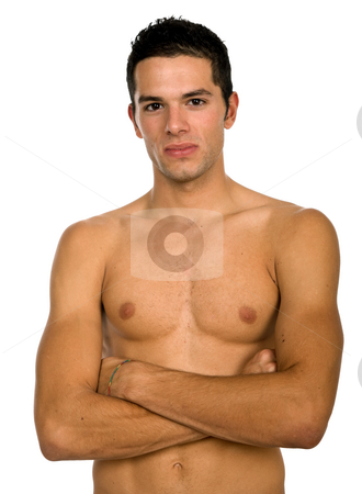Standing stock photo, Young casual naked man isolated on white by Rui Vale de Sousa