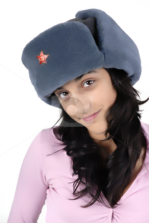 Portrait stock photo, Young girl with a russian hat portrait by Rui Vale de Sousa