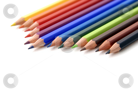Pencil stock photo, Color pencils aligned and isolated on white by Rui Vale de Sousa