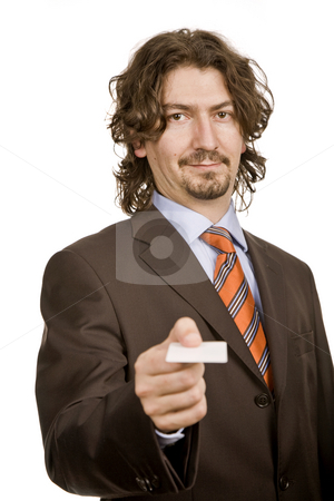 Card stock photo, Young businessman with card, focus on the face by Rui Vale de Sousa