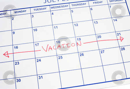 A vacation week marked on a calendar. stock photo, A vacation week marked on a calendar. by Stephen Rees