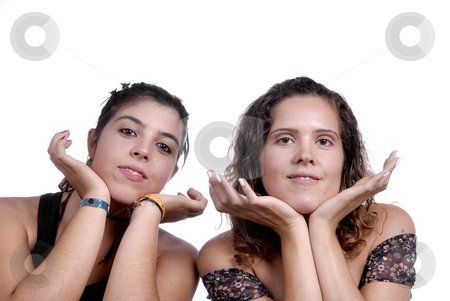 Women stock photo, Two young casual women isolated on white by Rui Vale de Sousa