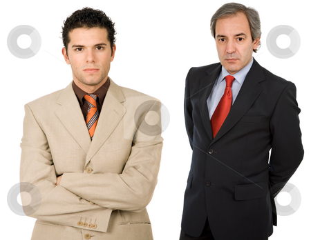 Businessmen stock photo, Two business men portrait, isolated on white by Rui Vale de Sousa