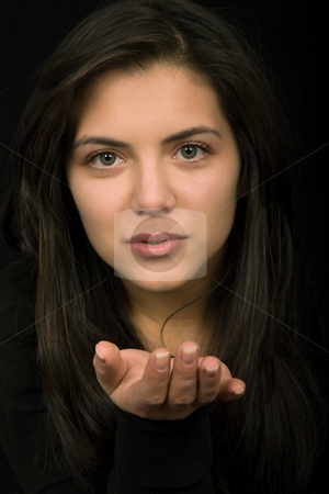 Whisper stock photo, Young woman portrait isolated on black background by Rui Vale de Sousa