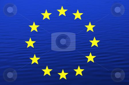 Flag stock photo, Europe flag illustration among water, computer generated by Rui Vale de Sousa