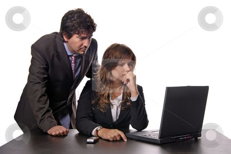 Working stock photo, Young business couple working with a laptop by Rui Vale de Sousa