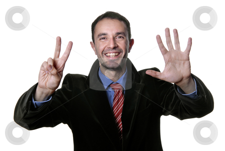 Victory stock photo, Man with hand open isolated on white by Rui Vale de Sousa