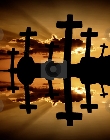Sunset stock photo, Cross at the sunset and the orange clouds by Rui Vale de Sousa