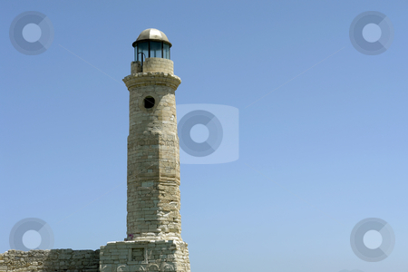 Lighthouse stock photo, Ancient lighthouse of rethymnon port, in the island of crete, greece by Rui Vale de Sousa