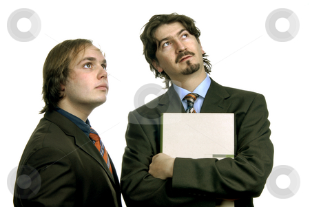 Wondering stock photo, Two young business men portrait isolated on white by Rui Vale de Sousa