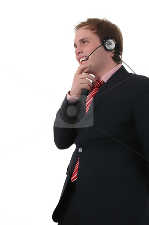 Call center man stock photo, Young call center man talkind by the phone by Rui Vale de Sousa