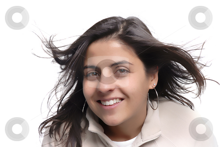 Woman with blowing hair stock photo, Happy young woman portrait with wind in her hair by Rui Vale de Sousa