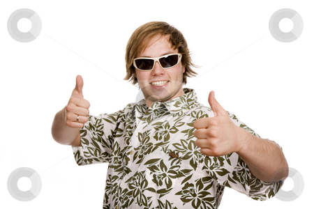 Thumb up stock photo, Young casual man going thumbs up isolated on white by Rui Vale de Sousa