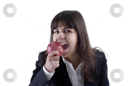 Woman eating apple stock photo, Young woman portrait with a apple isolated on white by Rui Vale de Sousa