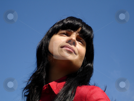 Thoughts stock photo, Young woman portrait with the sky as background by Rui Vale de Sousa